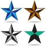 Star logo - vector illustration. Four type of vector illustration of star logo on isolated background royalty free illustration
