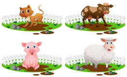 Four types of animals in the mud. Illustration Stock Photo
