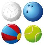 Four types of balls Royalty Free Stock Photo
