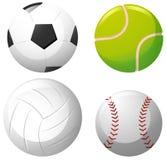 Four types of balls on white background Royalty Free Stock Photos