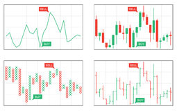Four types of business charts. Line, bar, japanese candlesticks, point and figure business charts Vector Illustration