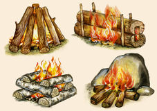 Four types of campfires. Shelter,block, well, warming on buff background Royalty Free Stock Photo