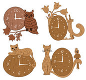 Four types of clock tree with decor Royalty Free Stock Photo