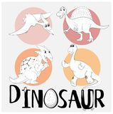 Four types of dinosaurs on round badge Stock Images