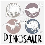 Four types of dinosaurs on white poster Stock Photography