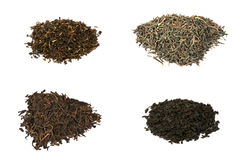 Four types of elite black tea isolated on white stock images
