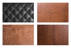 Four types of leather Stock Photography