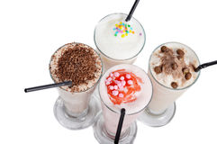 Four types of milkshake drink Stock Image