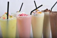 Four types of milkshake drink Stock Photos