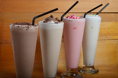 Four types of milkshake drink Royalty Free Stock Image