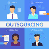 Four types of outsoursing. For business start-up. Lawer, consultant, accountant, call center operator Royalty Free Stock Photo