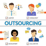 Four types of outsoursing. Four flat contour illustrations of types of outsoursing for business start-up. Lawer, consultant, accountant, call center operator Stock Photos
