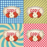 Four types of retro textured labels for apple products Stock Photos