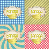 Four types of retro textured labels for banana Stock Photography