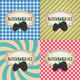 Four types of retro textured labels for blackberries Stock Photography