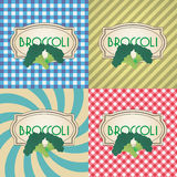 Four types of retro textured labels for broccoli eps10 Stock Image