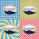 Four types of retro textured labels for eggplant eps10 Stock Images