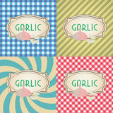 Four types of retro textured labels for garlic eps10 Royalty Free Stock Images