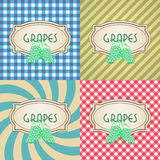 Four types of retro textured labels for grapes Royalty Free Stock Image