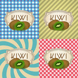 Four types of retro textured labels for kiwi products eps10 Royalty Free Stock Images