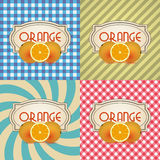 Four types of retro textured labels for orange products Stock Images