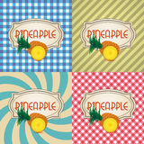 Four types of retro textured labels for pineapple products eps10 Stock Photography