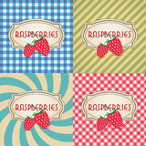 Four types of retro textured labels for raspberries Stock Image