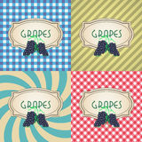 Four types of retro textured labels for red grapes Royalty Free Stock Photography