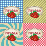Four types of retro textured labels for strawberry products eps10 Stock Image