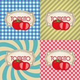 Four types of retro textured labels for tomato Stock Photography
