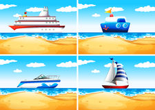 Four types of ships on the sea Stock Image