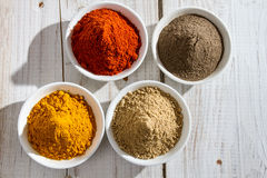 Of four types of spices Royalty Free Stock Image