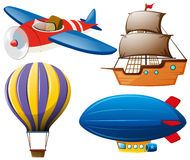 Four types of transportations Stock Image