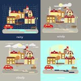 Four types of weather. Four types of different autumn weather colorful landscape icons - rainy, windy, cloudy, sunny. Small town landscape in flat style. Vector Stock Photography