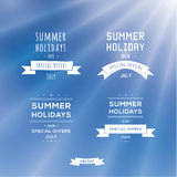 Four typographic emblems - summer holiday. Clean, white marks Stock Photo