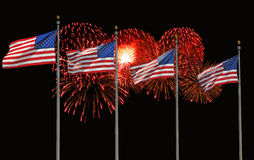Four U.S. Flags and Fireworks royalty free stock photography