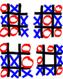 Four Unfinished Tick Tack Toe Games. With red O's and blue X's against a white background Stock Photography
