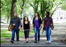 Four University students walking. Four students walking on campus stock photo