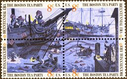 Four US postage stamps with painting of Boston Tea Party royalty free stock image