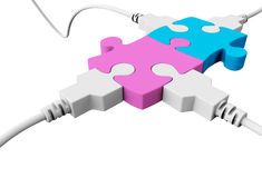 Four usb cables will connect two pieces of puzzle. Two pieces of the puzzle are joined together and both are connected to the usb cables Royalty Free Stock Images