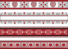 Four Valentine Borders With Gingham Trims. Four red, black and white Valentine borders with gingham trim Royalty Free Stock Photography