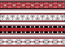 Four Valentine Borders With Gingham Trims. Red, black and white Valentine borders with gingham trim Royalty Free Stock Image