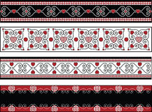 Four Valentine Borders With Gingham Trims. Red, black and white Valentine borders with gingham trim Stock Images