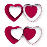 Four valentine heart gift boxes Stock Image