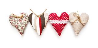 Four valentine hearts on the white background Royalty Free Stock Photography