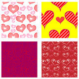 Four Valentine Patterns Stock Images