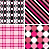 Four Valentine Patterns. A set of four background patterns for Valentines day Stock Photos