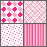 Four Valentine Patterns. A set of four background patterns for Valentines day Stock Image