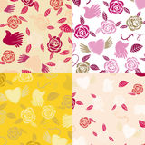 Four Valentine seamless patterns Royalty Free Stock Image