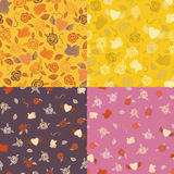 Four Valentine seamless patterns Stock Images